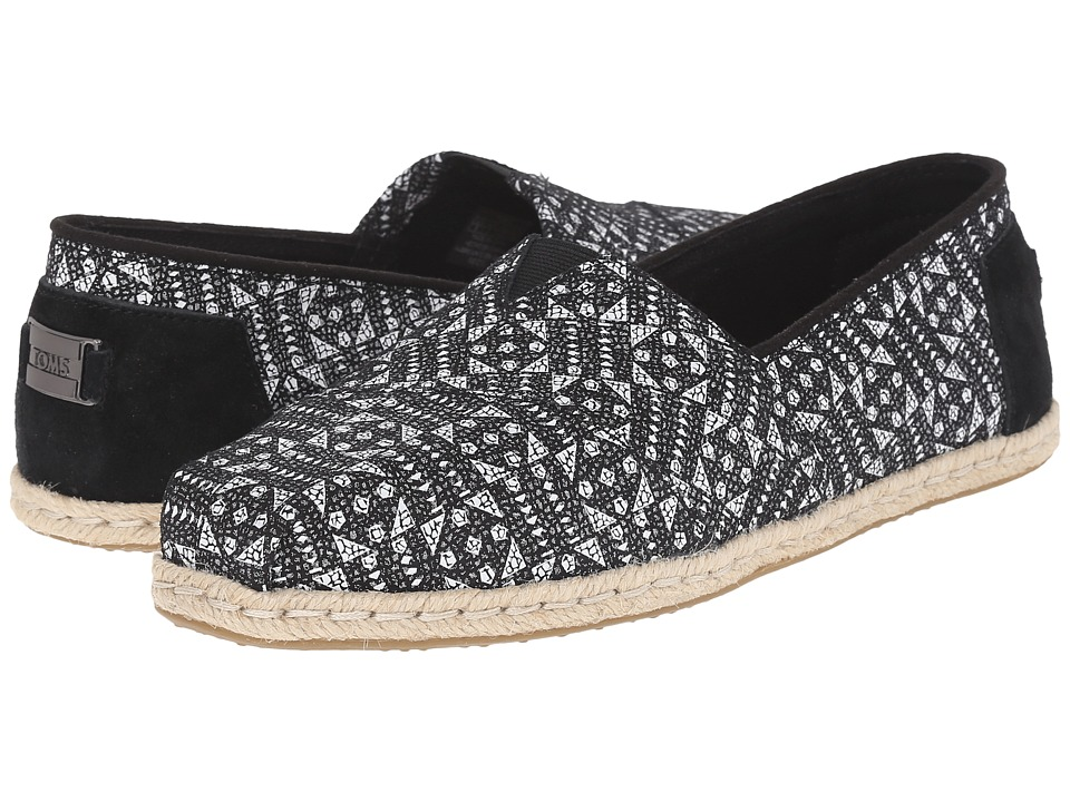 TOMS - Seasonal Classics (Black/White Tiles Suede Printed) Women's Slip on Shoes