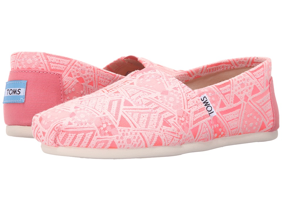 TOMS - Seasonal Classics (Pink Neon Tribal) Women's Slip on Shoes