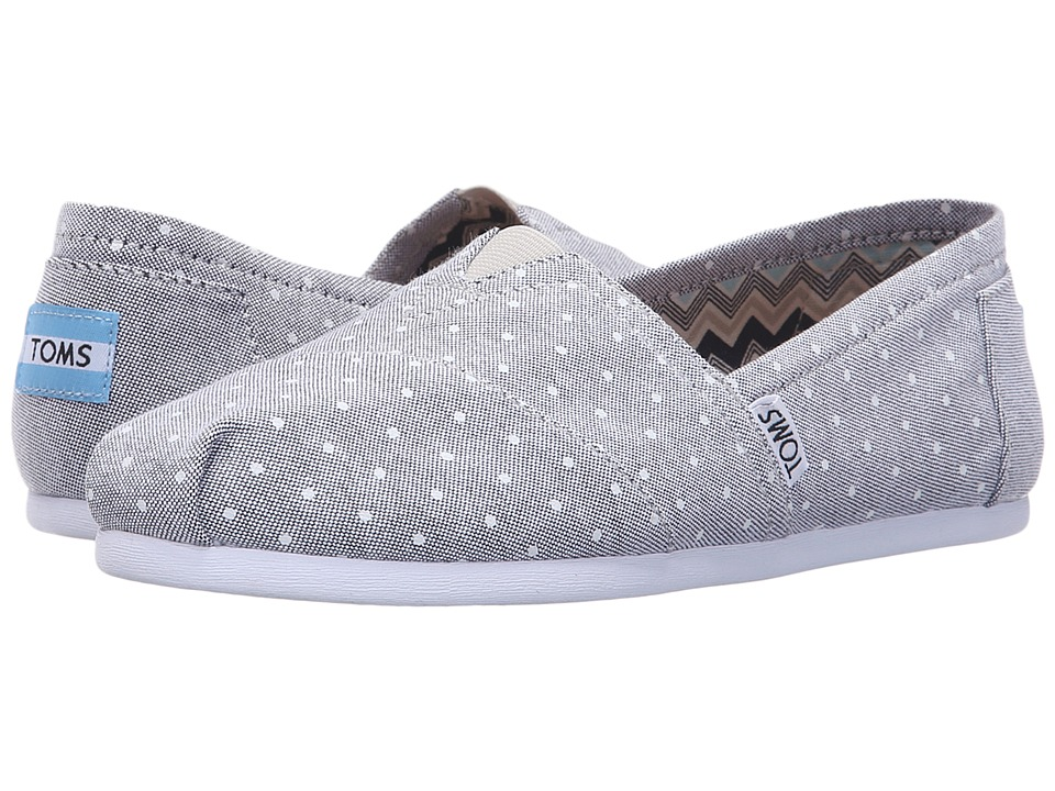 TOMS - Seasonal Classics (Grey Chambray Polka Dot) Women's Slip on Shoes