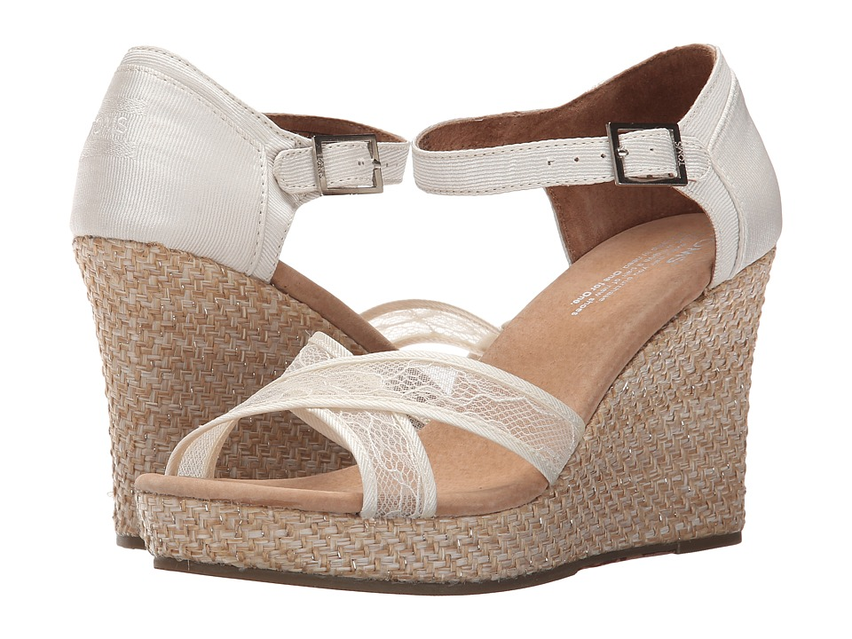 TOMS - Wedding Wedge (Platinum Grosgrain Lace) Women's Wedge Shoes
