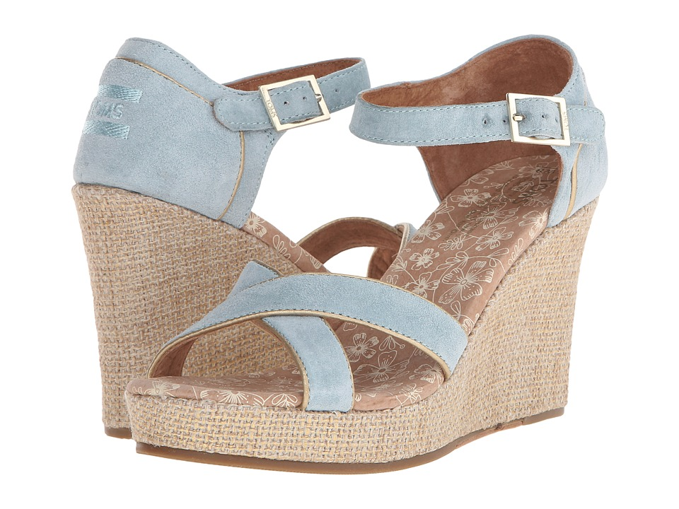 TOMS - Wedding Wedge (Light Blue Suede Gold) Women's Wedge Shoes