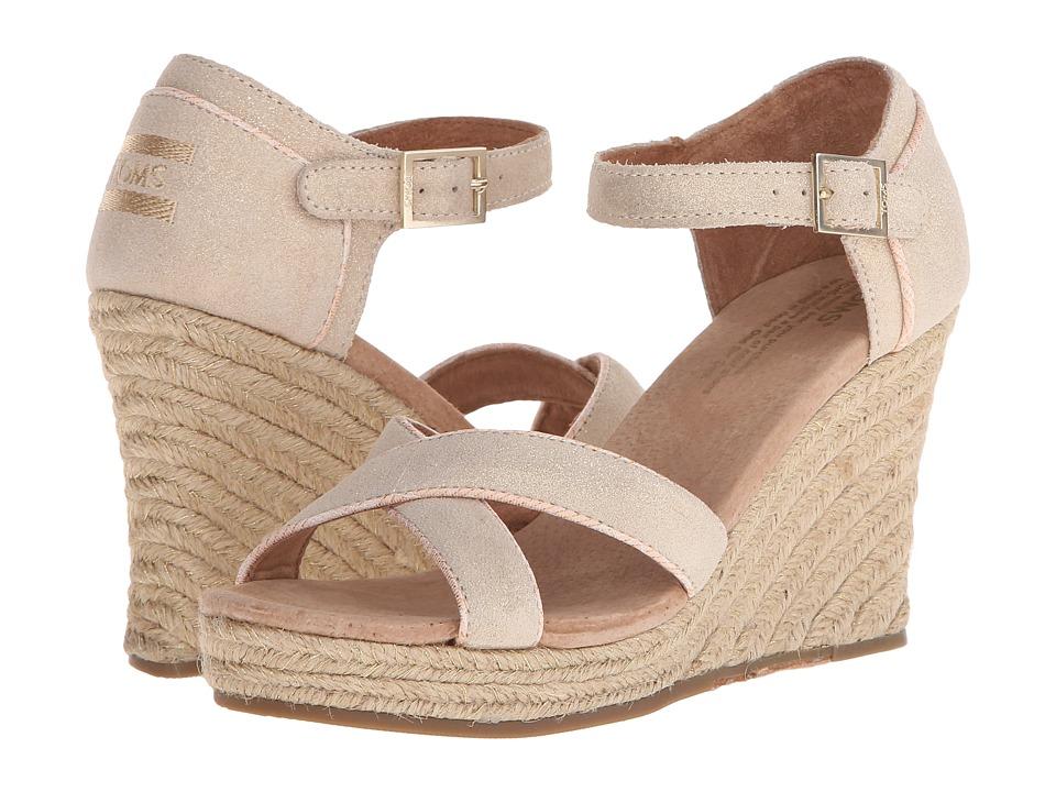 TOMS - Wedding Wedge (Metallic Suede) Women's Wedge Shoes