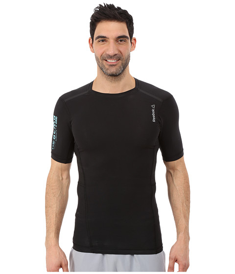 Reebok - One Series Cotton Compression Short Sleeve (Black) Men's Clothing