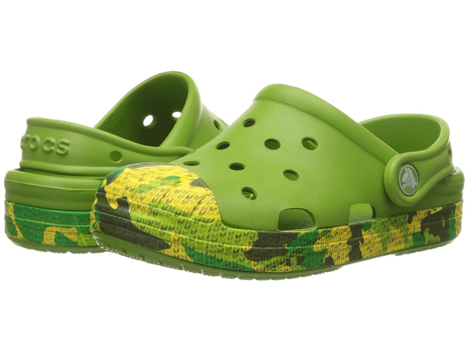 Crocs Kids - Bump It Camo Clog (Toddler/Little Kid) (Parrot Green) Boys Shoes