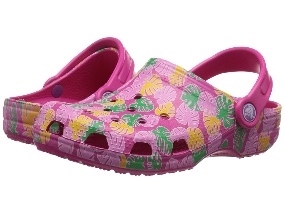Crocs Kids - Classic Tropical Clog (Toddler/Little Kid) (Candy Pink) Girls Shoes