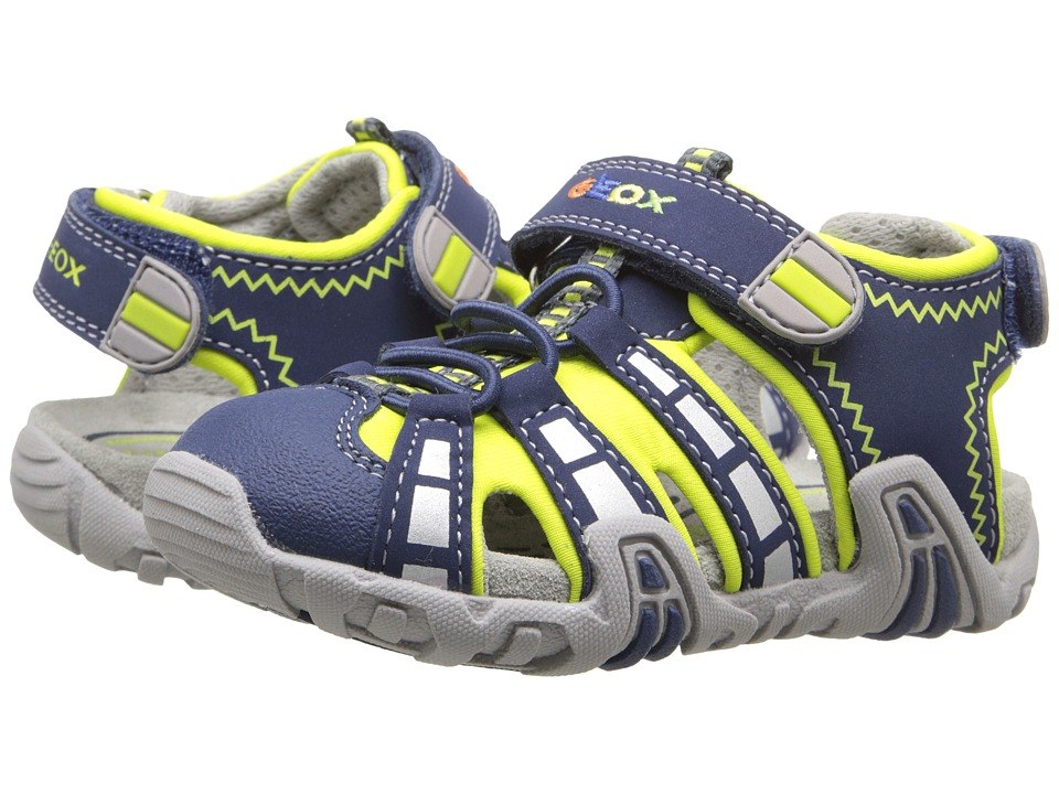 Geox Kids - Baby Sandal Kraze 33 (Toddler) (Navy/Lime Green) Boy's Shoes