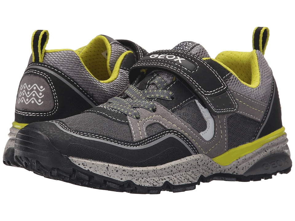 Geox Kids - Jr Bernie 10 (Big Kid) (Black/Lime) Boy's Shoes