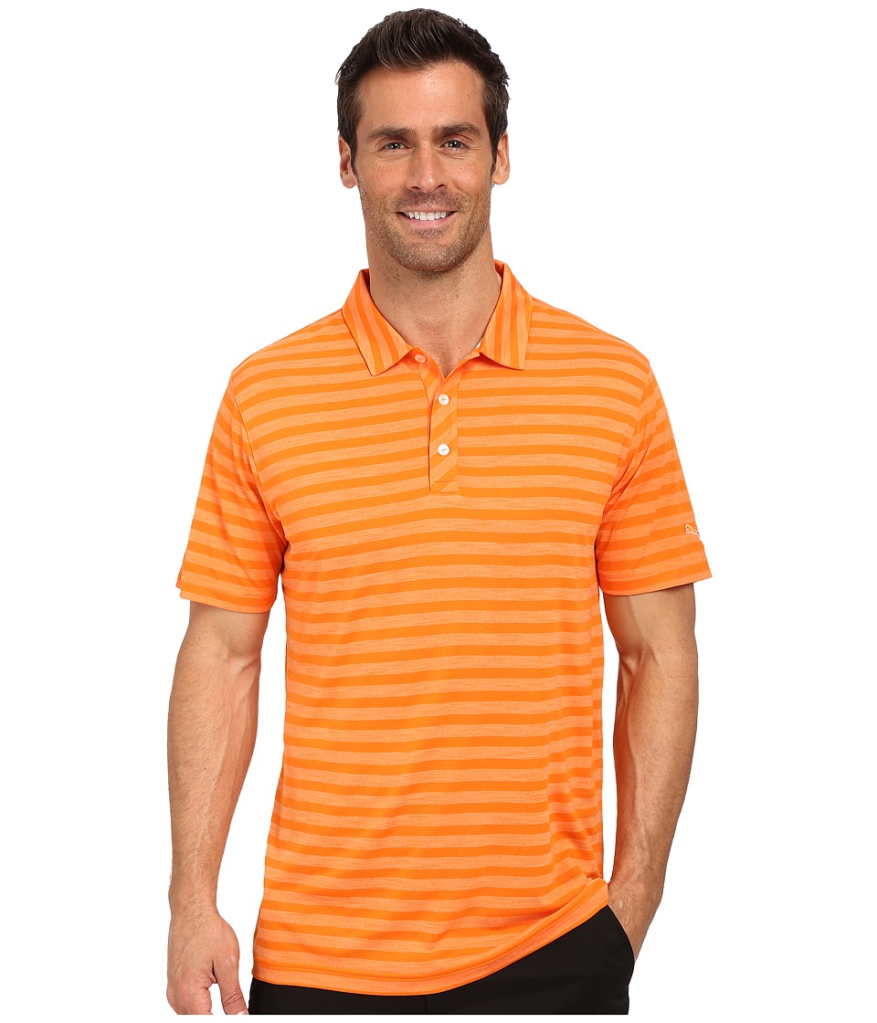 PUMA Golf - ESS Mixed Stripe Polo (Orange) Men's Clothing