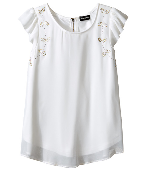 Marciano Kids - Flutter Sleeve Woven Top (Big Kids) (Off-White) Girl's Short Sleeve Pullover