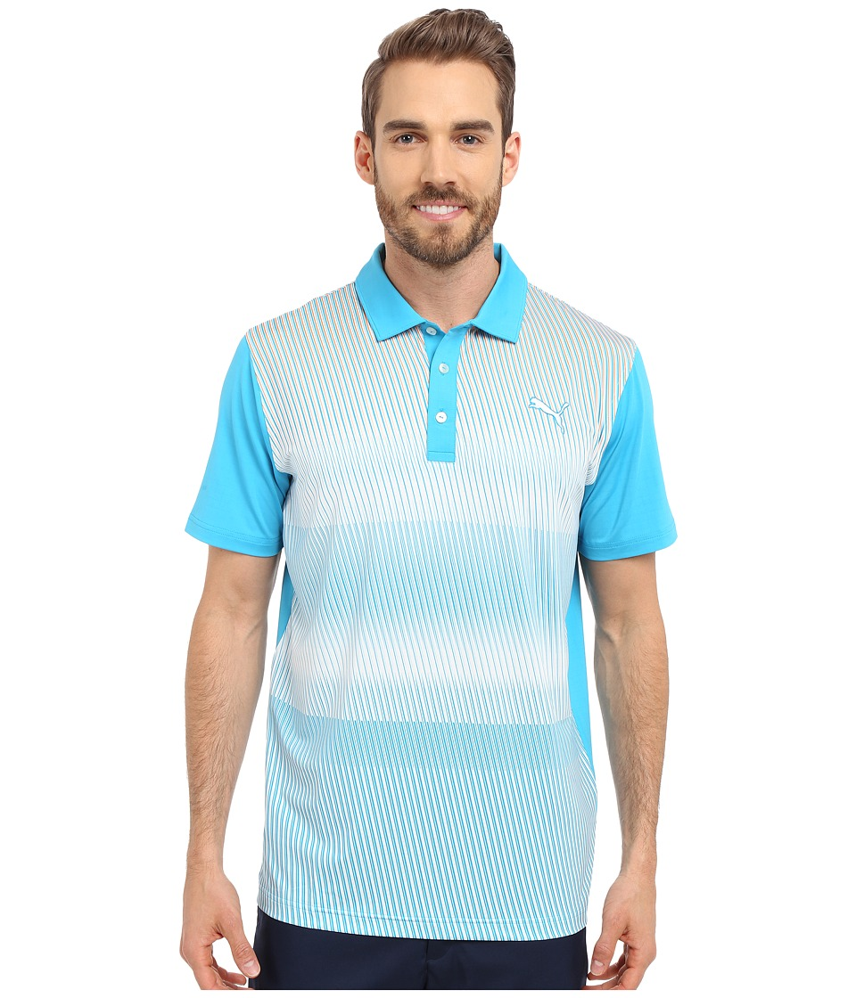 PUMA Golf - GT Brush Stripe Polo (Atomic Blue) Men's Clothing