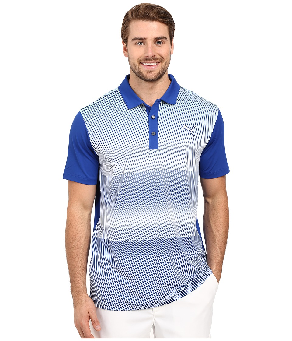PUMA Golf - GT Brush Stripe Polo (Surf the Web) Men's Clothing