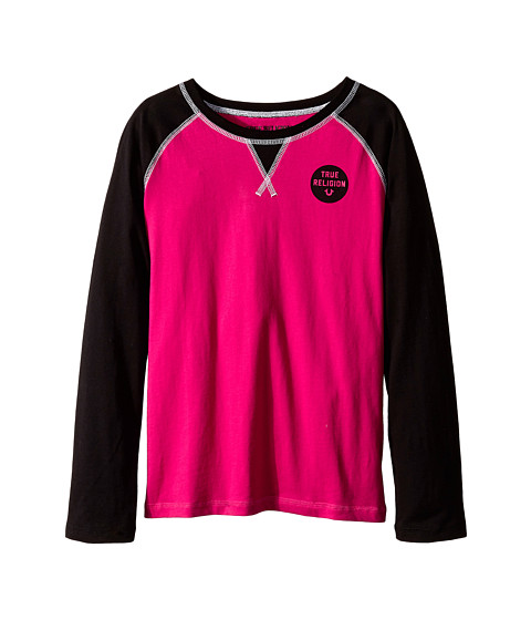 True Religion Kids - Long Sleeve Raglan Graphic Tee Shirt (Big Kids) (Fuchsia) Girl