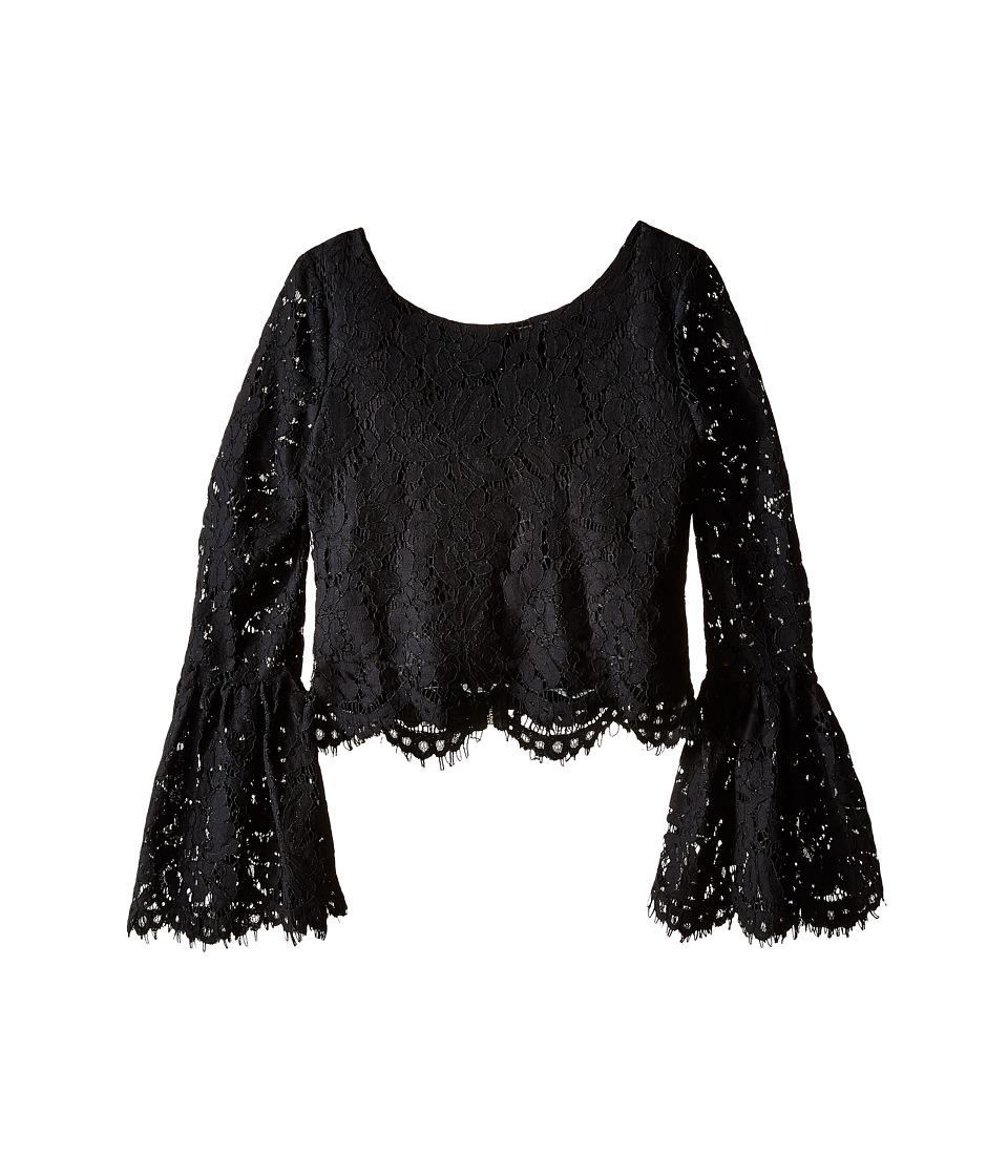 Marciano Kids - Flare Sleeve Crop Top (Big Kids) (Black) Girl's Long Sleeve Pullover