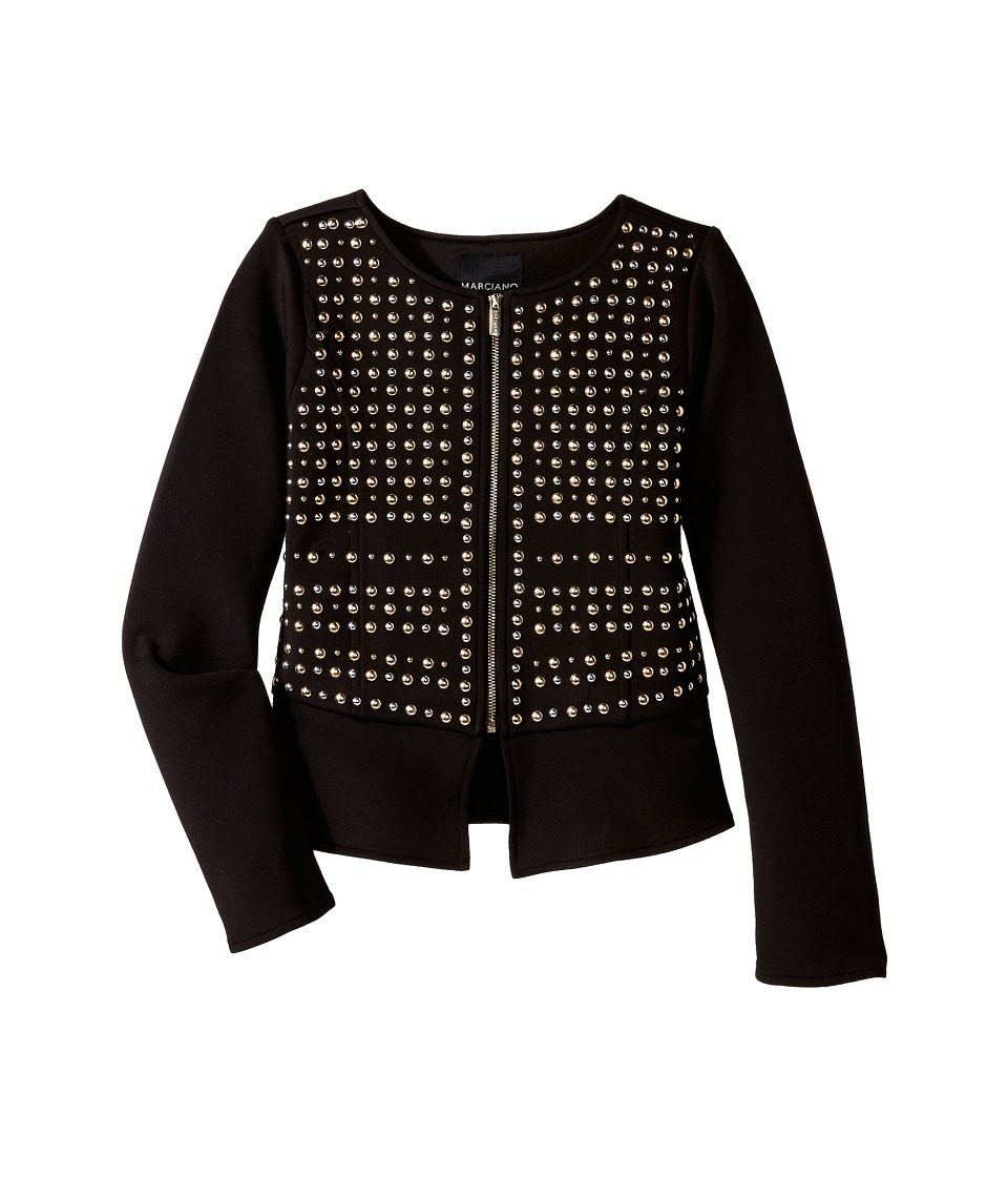Marciano Kids - Peplum Studded Jacket (Big Kids) (Black) Girl's Coat