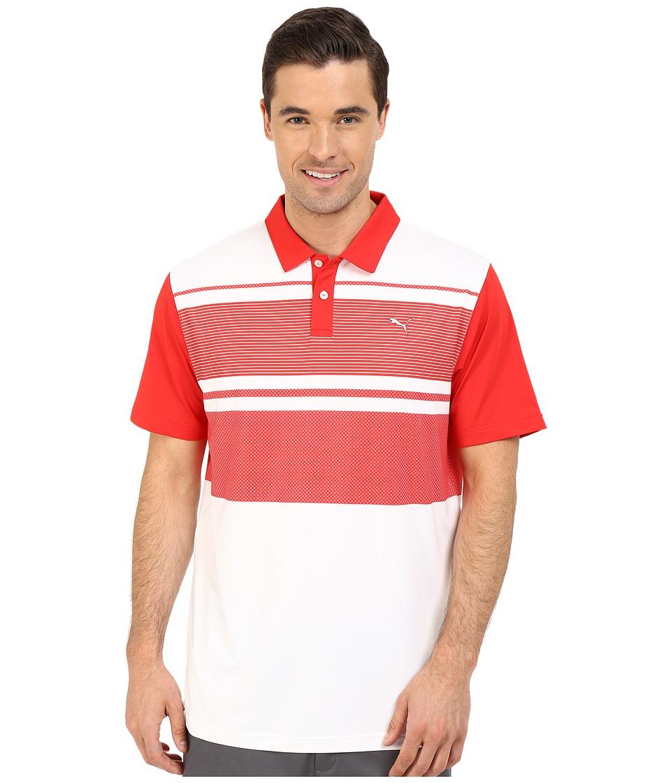 PUMA Golf - Short Sleeve Patternblock Polo (High Risk Red) Men's Short Sleeve Pullover