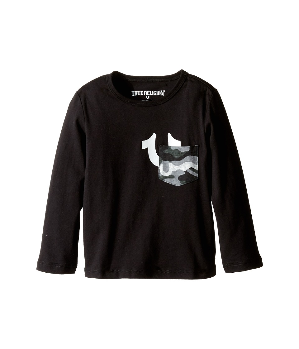 True Religion Kids - Long Sleeve Solid Jersey Tee Shirt (Toddler/Little Kids) (Black) Boy