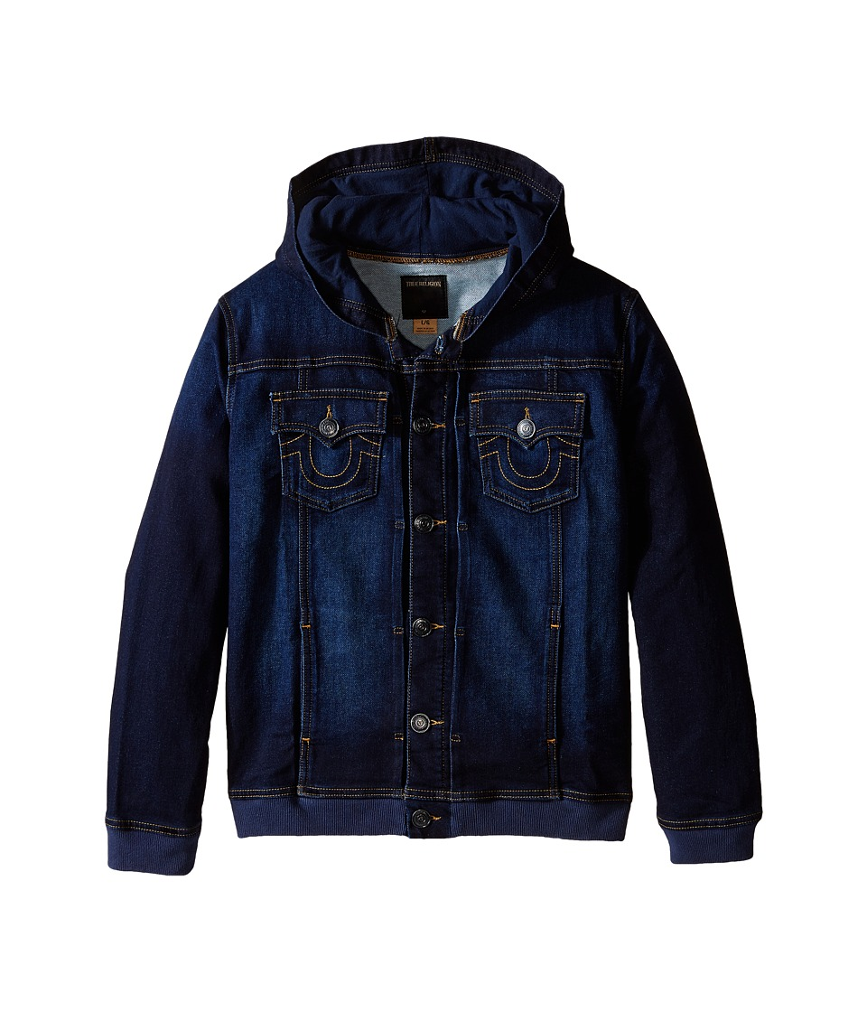 True Religion Kids - Dylan Indigo French Terry Hoodie Jacket (Big Kids) (Medium Indigo) Boy's Jacket