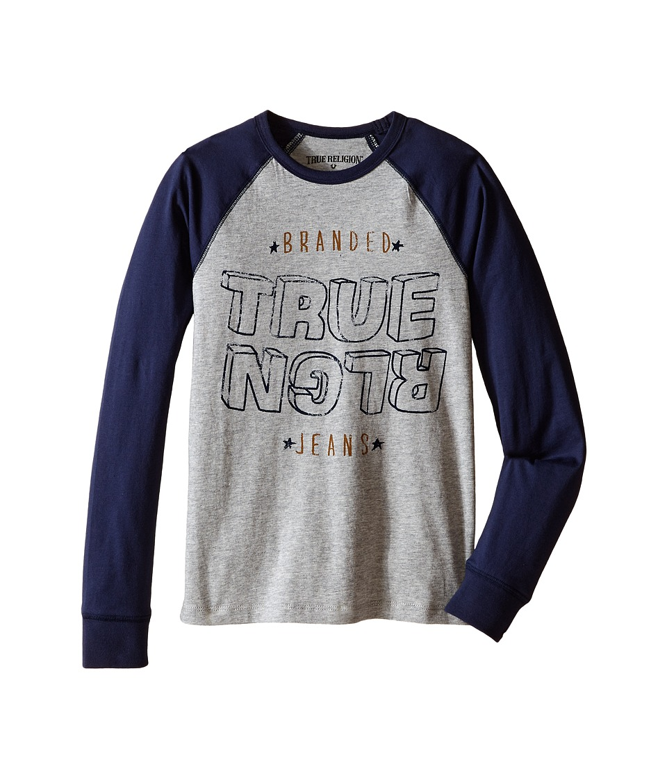 True Religion Kids - Long Sleeve Raglan Indigo Jersey Tee Shirt (Big Kids) (Heather Grey) Boy's T Shirt