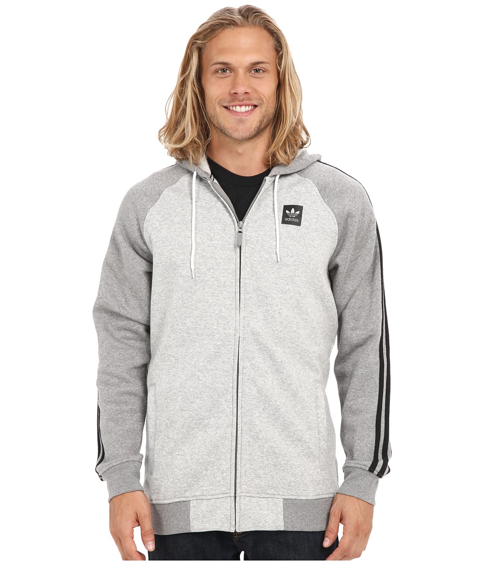 adidas Skateboarding - AS Hooded Track Jacket (Medium Grey Heather/Core Heather) Men's Coat