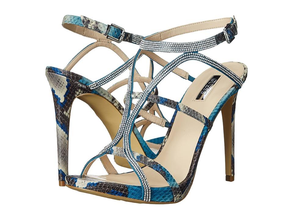 GUESS Adalee (Blue Multi Fabric) High Heels
