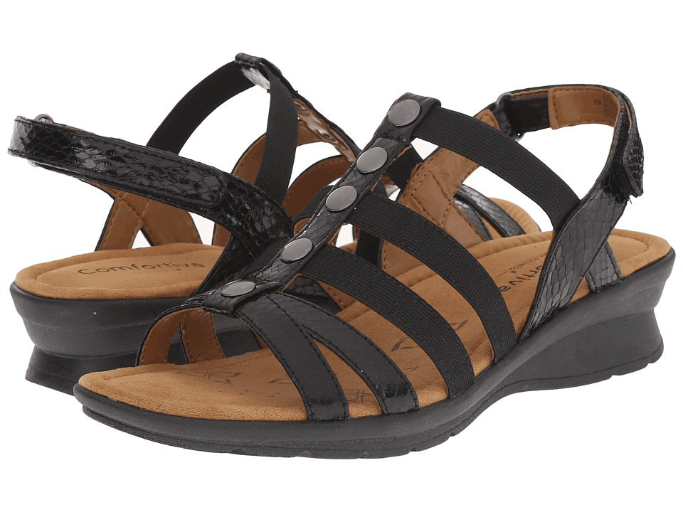 Comfortiva - Kalista (Black Snake Print) Women's Sandals
