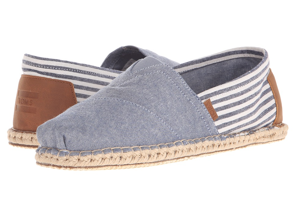 TOMS - Seasonal Classics (Chambray Stripe Blanket Stitch) Men's Slip on Shoes