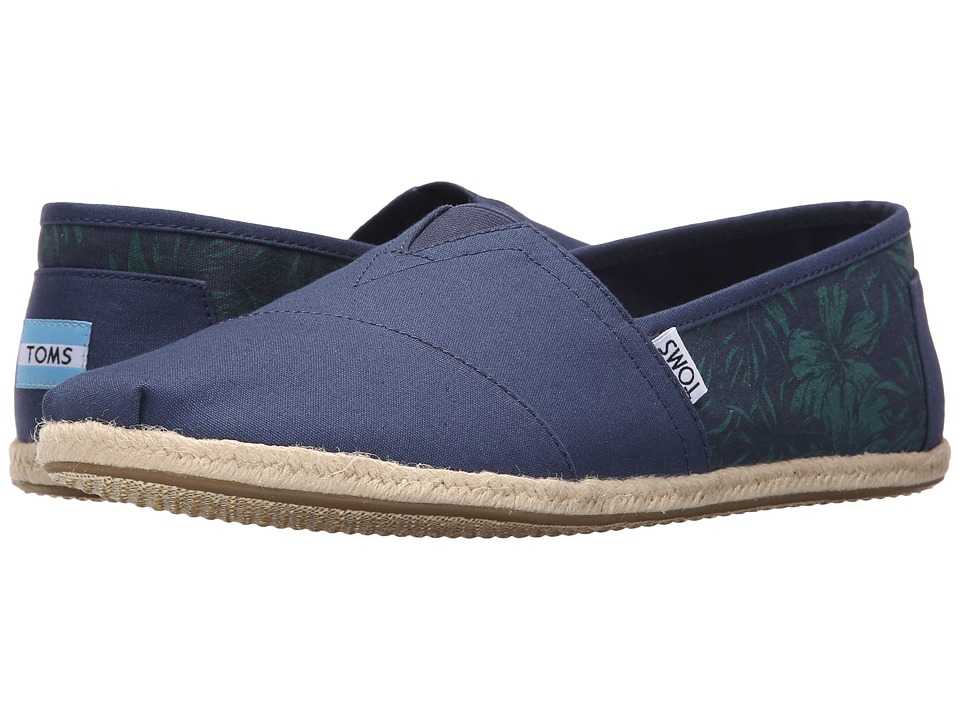 TOMS - Seasonal Classics (Navy Hibiscus Canvas) Men's Slip on Shoes