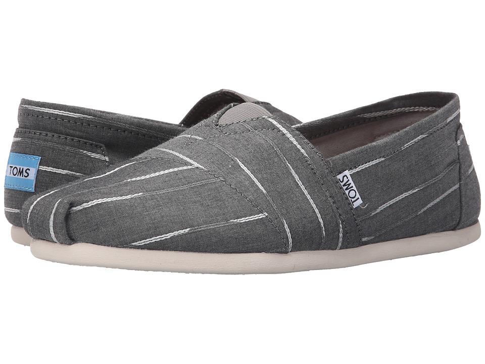 TOMS - Seasonal Classics (Grey/White Mini Stripe) Men's Slip on Shoes