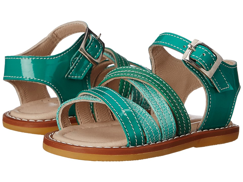 Elephantito - Crossed Sandal (Toddler) (PTN Green) Girls Shoes