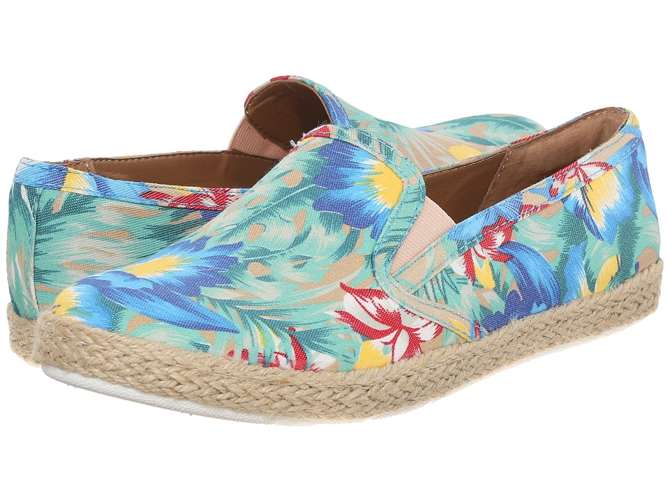 Comfortiva - Sifton (Blue/Green Flower Print Canvas) Women's Shoes