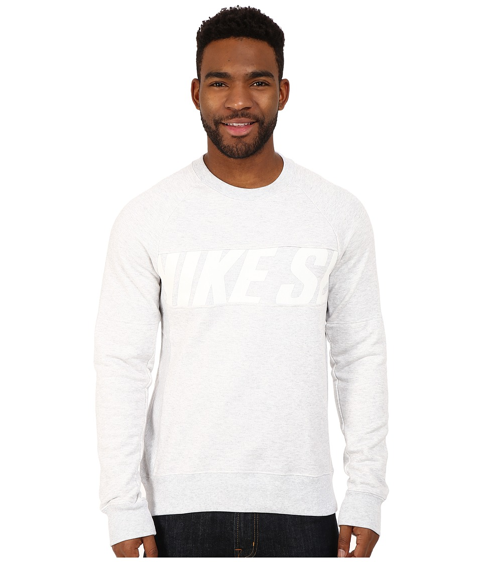 Nike SB - SB Everett Motion Crew (Birch Heather/White) Men's Sweatshirt