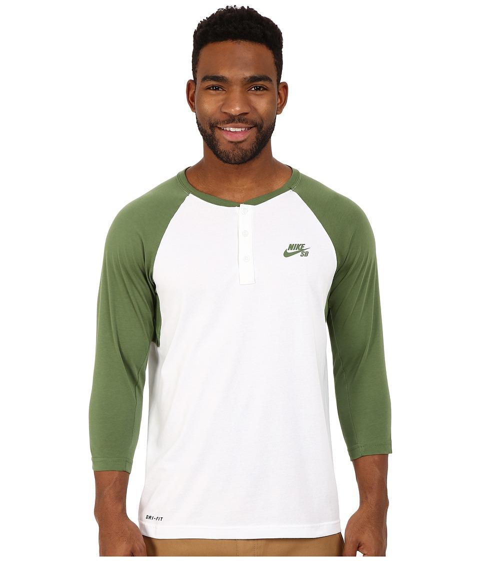 Nike SB - SB Dri-Fit 3/4 Sleeve Henley Top (Treeline/White/Treeline) Men's Long Sleeve Pullover