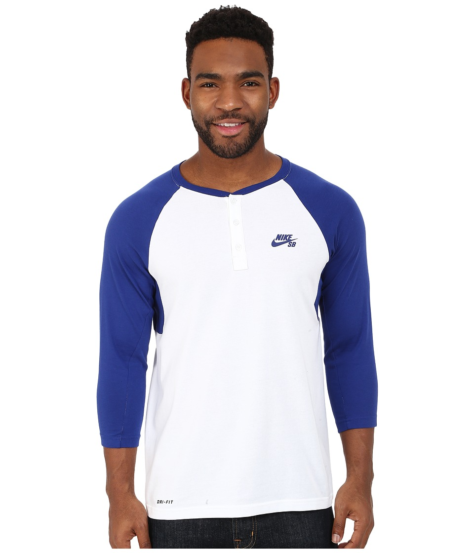 Nike SB - SB Dri-Fit 3/4 Sleeve Henley Top (Deep Rpyal Blue/White/Deep Royal Blue) Men's Long Sleeve Pullover