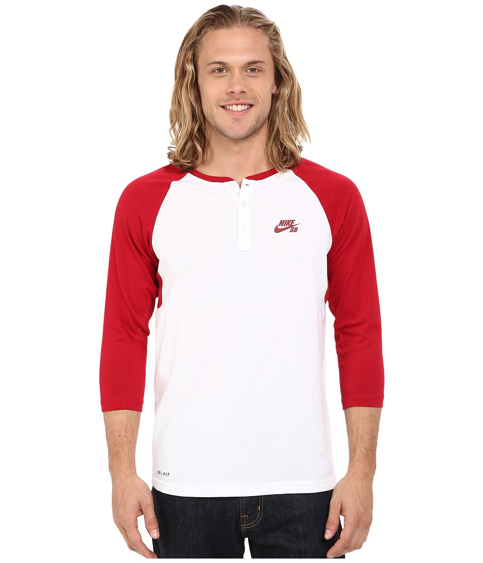 Nike SB - SB Dri-Fit 3/4 Sleeve Henley Top (Gym Red/White/Gym Red) Men's Long Sleeve Pullover