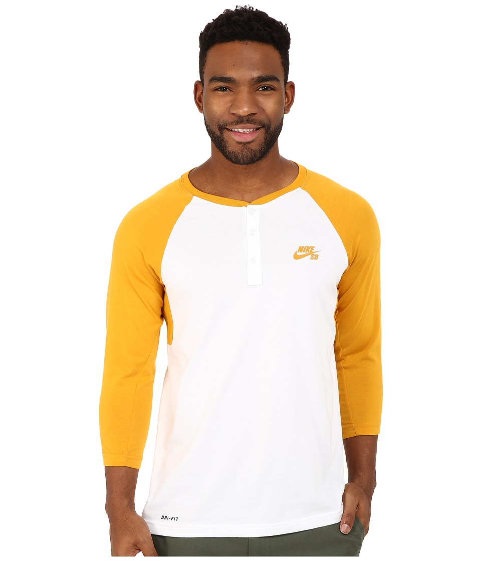 Nike SB - SB Dri-Fit 3/4 Sleeve Henley Top (Gold Leaf/White/Gold Leaf) Men's Long Sleeve Pullover