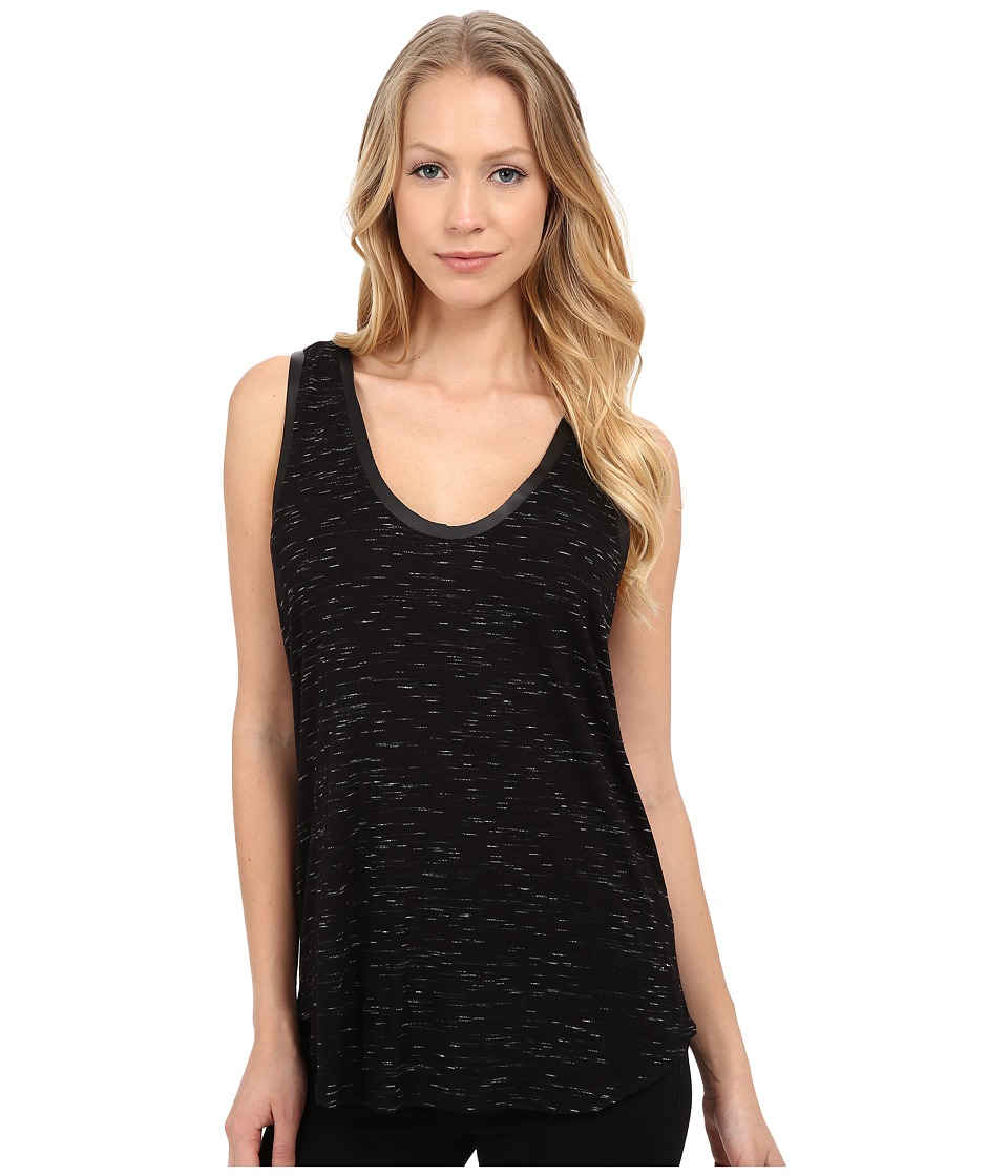 Paige - Amalie Tank Top (Black Slub/Black Leather) Women's Sleeveless