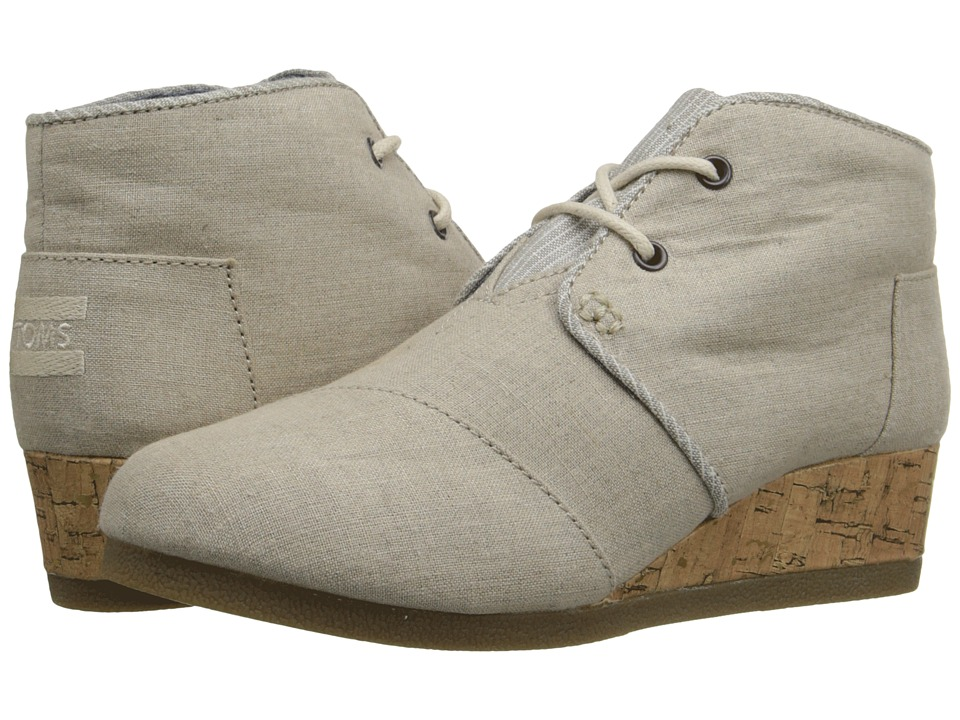 TOMS Kids - Desert Wedge Bootie (Little Kid/Big Kid) (Natural Linen) Kids Shoes