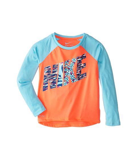 Nike Kids - Dri-Fit Print Party Raglan Tee (Little Kids) (Hot Lava) Girl