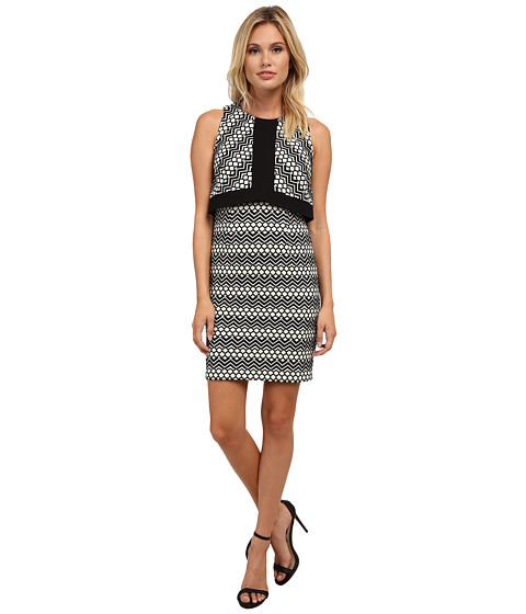 Laundry by Shelli Segal - Pop Over Jacquard Dress (Black Multi) Women's Dress