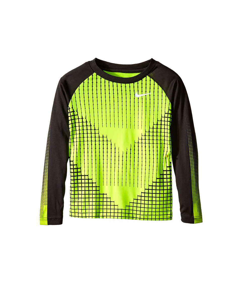 Nike Kids - Chevron Squares Dri-Fit Long Sleeve Raglan Shirt (Little Kids) (Volt) Boy's T Shirt