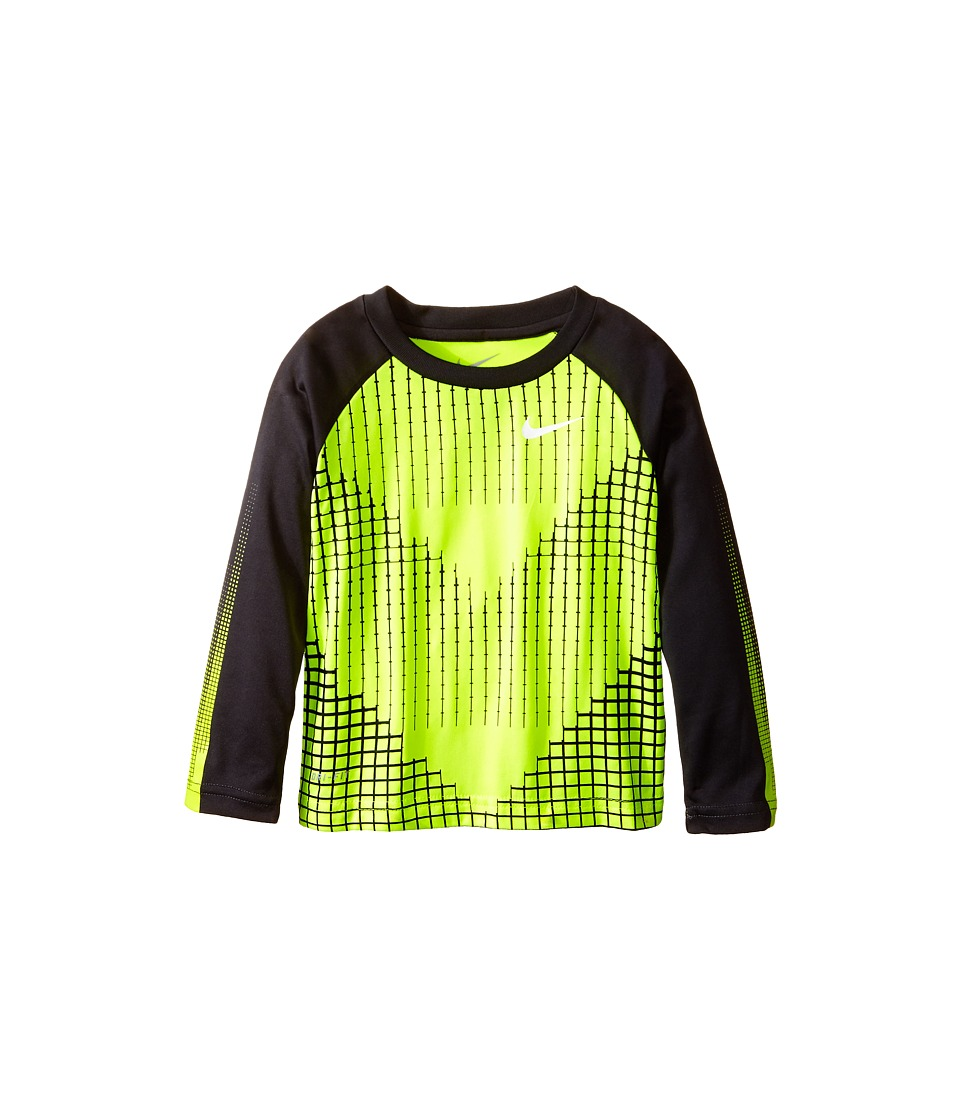 Nike Kids - Chevron Squares Dri-Fit Long Sleeve Raglan Shirt (Toddler) (Volt) Boy's T Shirt