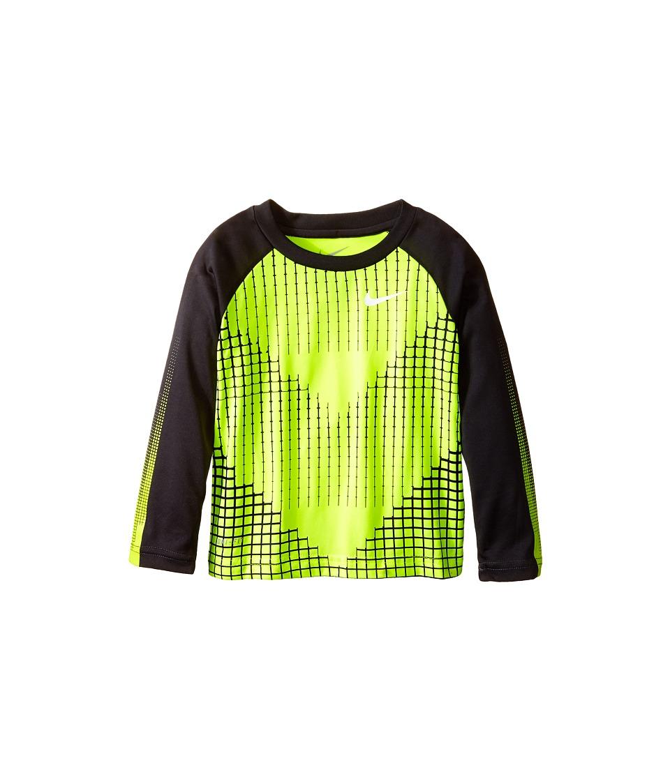 Nike Kids - Chevron Squares Dri-Fit Long Sleeve Raglan Shirt (Toddler) (Volt) Boy's T Shirt