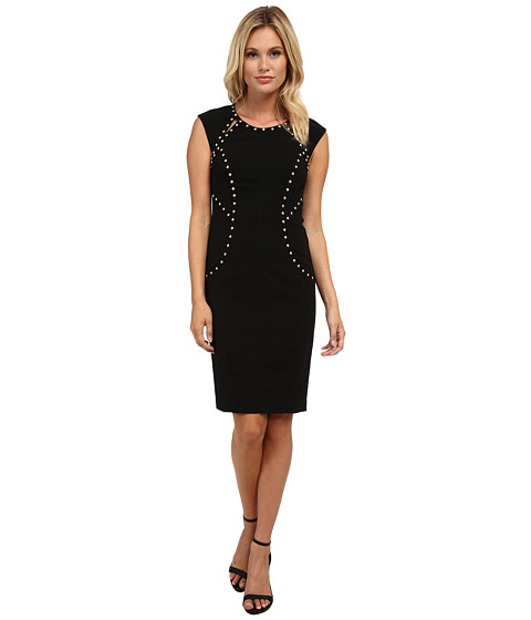 Laundry by Shelli Segal - Crepe Dress with Studs (Black) Women