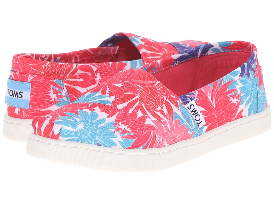 TOMS Kids - Seasonal Classics (Little Kid/Big Kid) (Pink Satin Floral) Kids Shoes