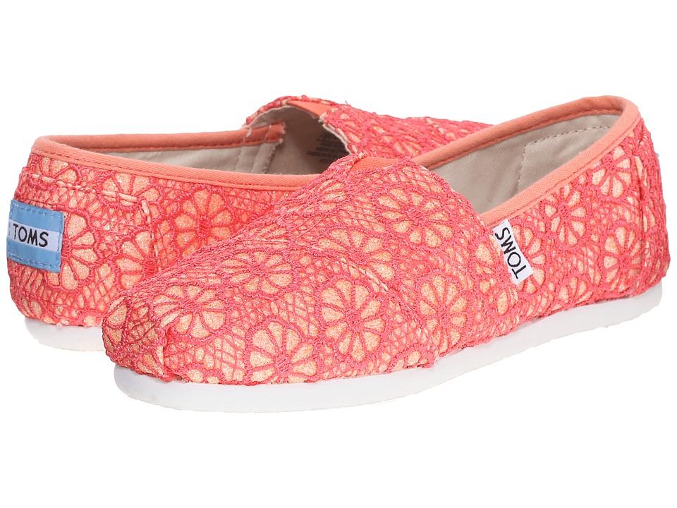 TOMS Kids - Seasonal Classics (Little Kid/Big Kid) (Coral Crochet Glitter) Kids Shoes