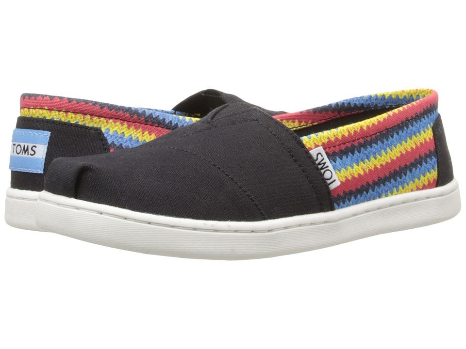 TOMS Kids - Seasonal Classics (Little Kid/Big Kid) (Black Raffia Print) Kids Shoes