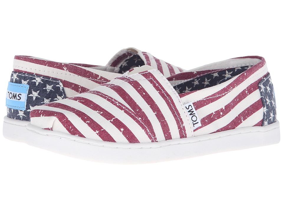 TOMS Kids - Seasonal Classics (Little Kid/Big Kid) (Americana Canvas Flag) Kids Shoes