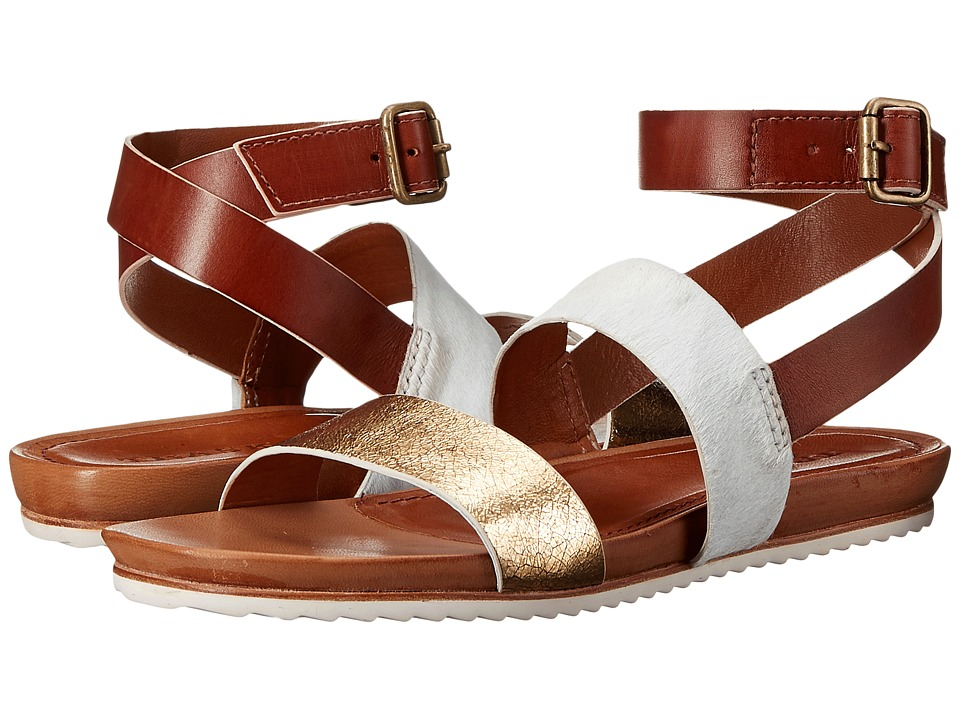 Trask - Ryder (Gold Metallic Calfskin/White Haircalf/Tan Vegetable-Tanned Steer) Women's Sandals