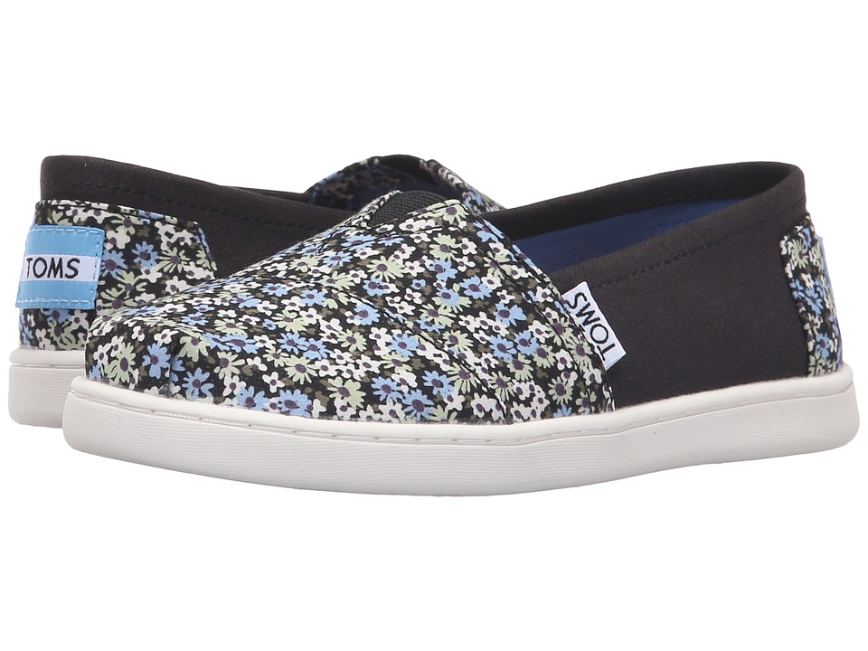 TOMS Kids - Seasonal Classics (Little Kid/Big Kid) (Black Canvas Ditsy Floral) Kids Shoes
