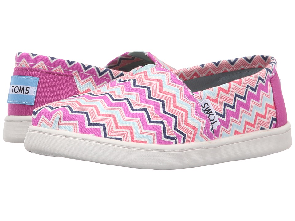 TOMS Kids - Seasonal Classics (Little Kid/Big Kid) (Pink Multi Canvas Chevron) Kids Shoes